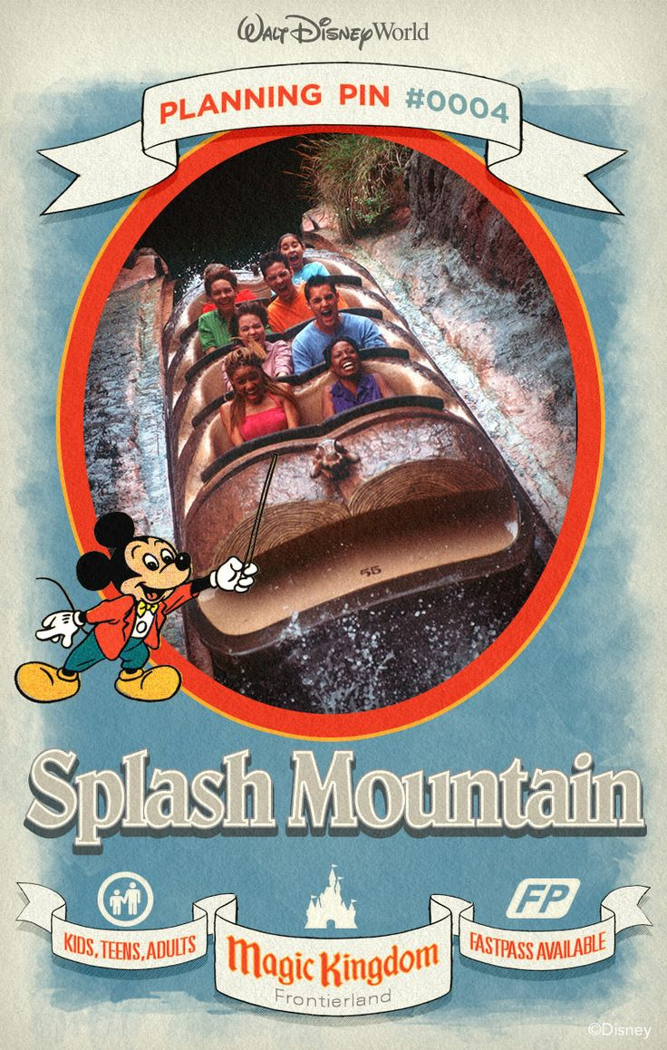 Walt Disney World Planning Pins: A rollicking log flume ride featuring characters and songs from the classic Disney film Song of the South.
