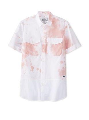 74% OFF Vivienne Westwood Men's Splatter Print Shirt (White/Pink)