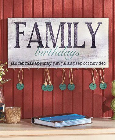 Wooden Family Birthday Plaque keeps track of those special days with country style. Take one of the 24 included tags and personalize it with a person's name and