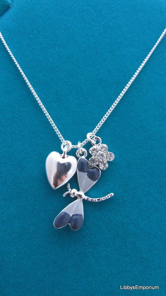 Indulgence Sliver Plated Dragonfly Heart Necklace 703
