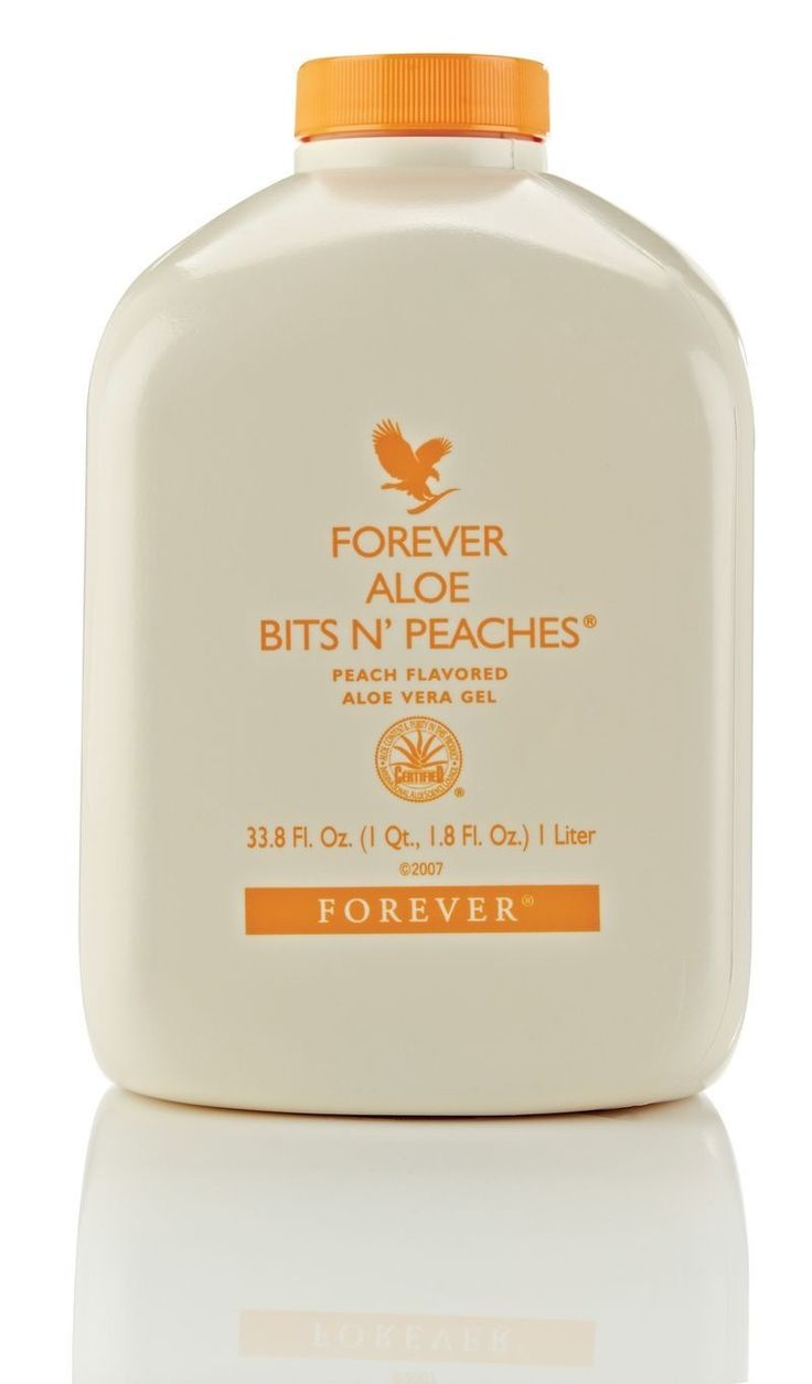 Forever Aloe Bits n' Peaches has all the benefits of the Original Aloe Vera Gel, and contains chunks of inner leaf Aloe Vera and a refreshing Peach flavour.