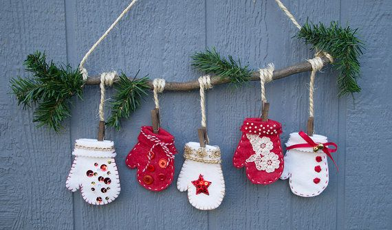 Five Little Mittens Hanging from Branch Home Decor by SliceOfSky