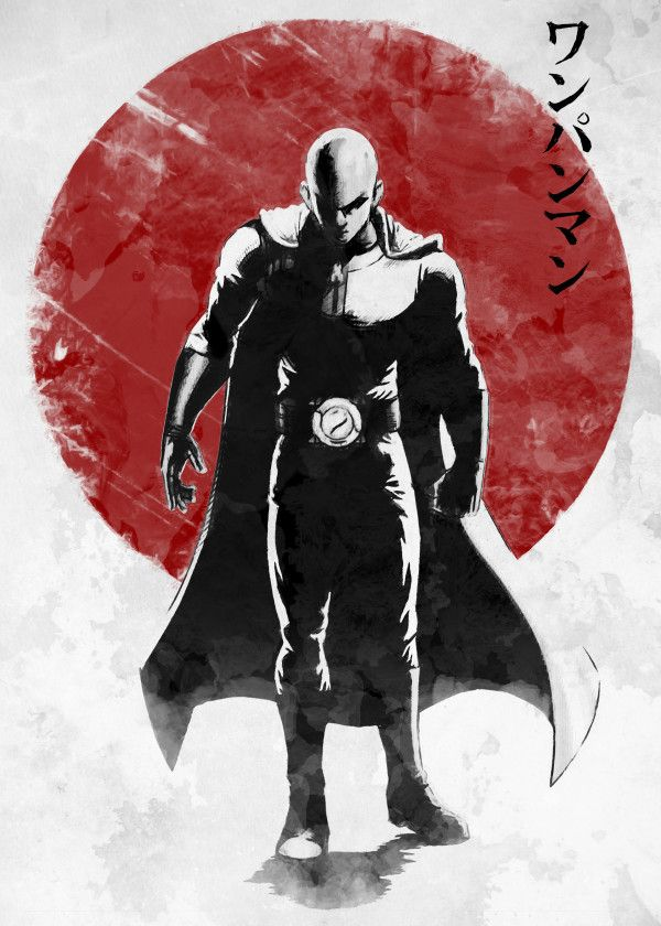 Displate Poster One Punch Hero Saitama One Punch Man Anime Manga Japan Red Sun One Punch Man Anime Saitama One Punch Saitama One Punch Man