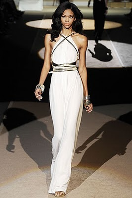 DSquared S/S 2009; close-fitting dress inspired by chiton of the Etruscans