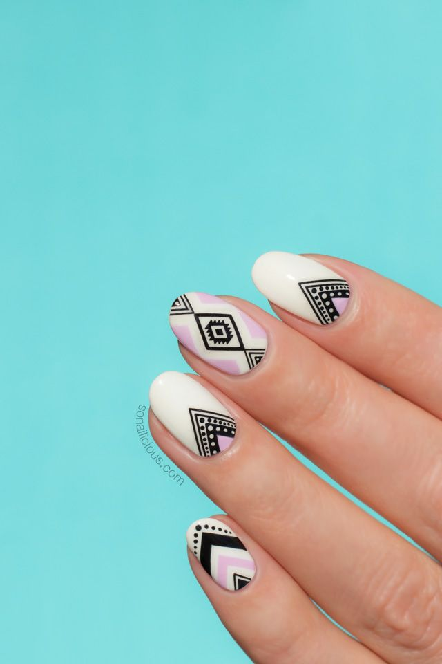 Aztec nails how to || SoNailicious design