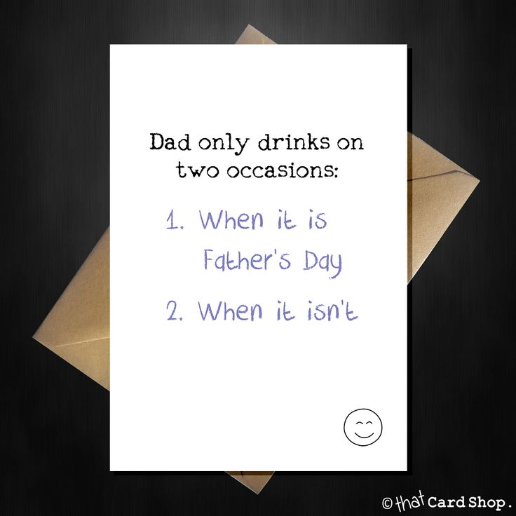 Funny Fathers Day Card - Dad only drinks on 2 occasions...