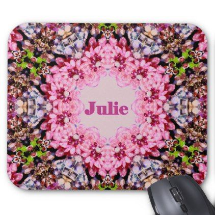 Pink Fractal Pattern Personalised for JULIE  Mouse Pad - chic design idea diy elegant beautiful stylish modern exclusive trendy