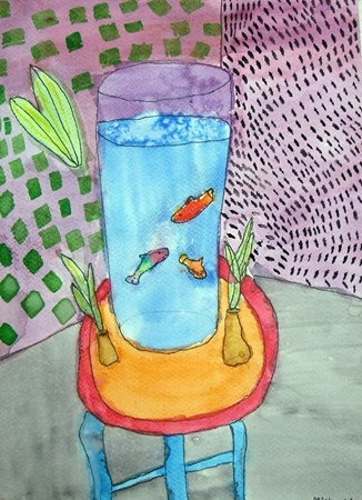 Fishbowl Paintings ~ inspired by Henry Matisse.(Grade 2) Site is linked to a video. Example #3
