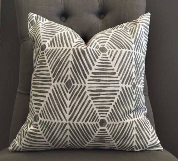 Gray Pillow Cover Gray Ikat Pillow Cover  FYNN by StudioPillows