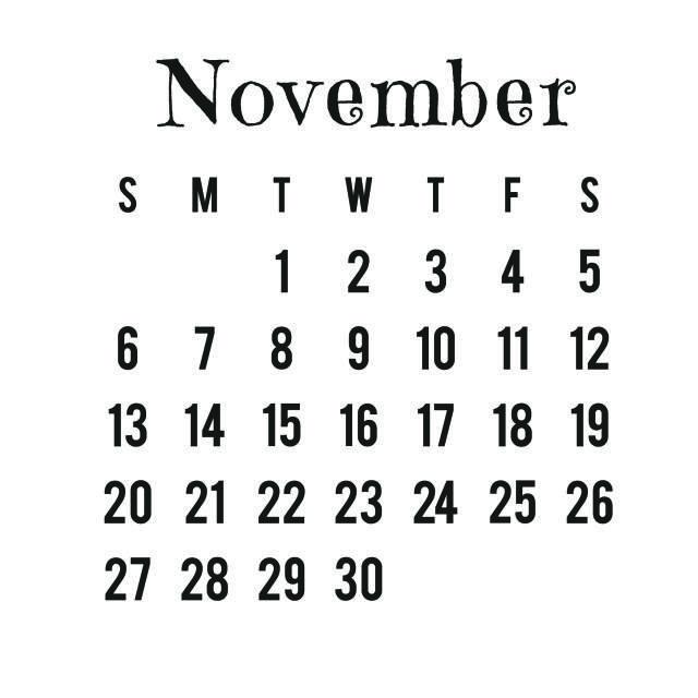 Use This Free, Hi-Res Digital Stamp 2016 Calendar for Your Projects: November 2016 Digital Stamp Calendar