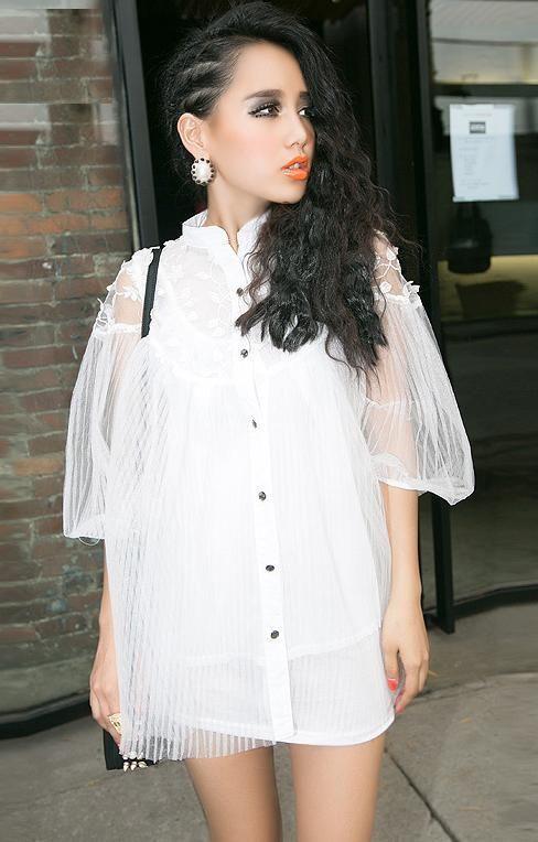Morpheus Boutique  - White Gauze Losse Button Down Short Sleeve Hem Shirt, CA$82.04 (http://www.morpheusboutique.com/white-gauze-losse-button-down-short-sleeve-hem-shirt/)