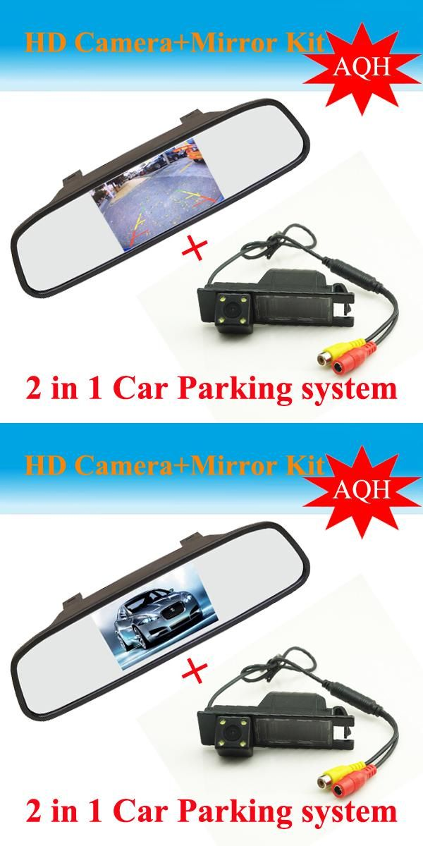 [Visit to Buy] 2 in 1 Auto parking System for OPEL Astra H/Corsa D/Meriva A/Vectra C/Zafira B CCD Car Rear View Camera +  HD  Car rear Mirror #Advertisement
