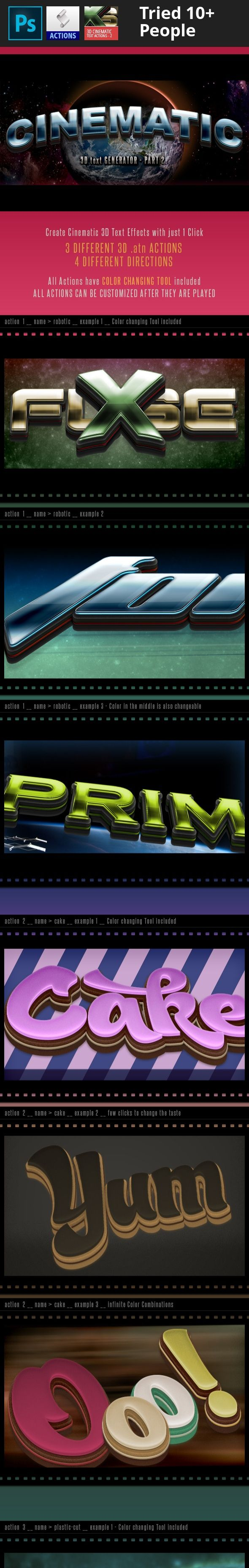 3d, 3d action, 3d actions, 3d effect, 3d generator, 3d layer, 3d text, action, army, atn, cake, cinema, cinematic, clean, dark, depth, film, force, future, generator, gold, military, movie, multicolor, perspective, silver, space, tasty, text effect, three dimensional 3D Cinematic Text Effect Generator – Part 2 – Actions  New Generation of ATN Photoshop Actions are perfect for any kind of your project.   If You like these Actions, check also other 3D Text Actions        3D Cinematic T...