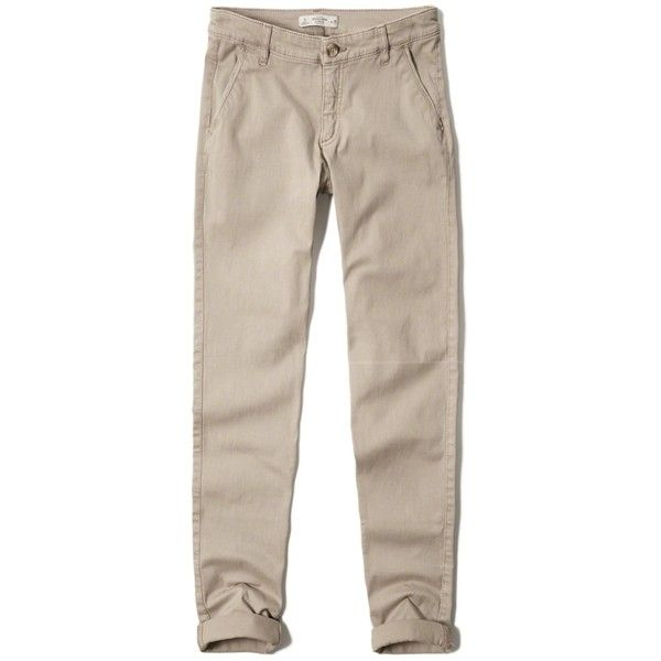 Abercrombie & Fitch Skinny Chinos (591.260 IDR) ❤ liked on Polyvore featuring pants, light khaki, slim pants, khaki pants, skinny chino pants, chino pants and khaki stretch pants