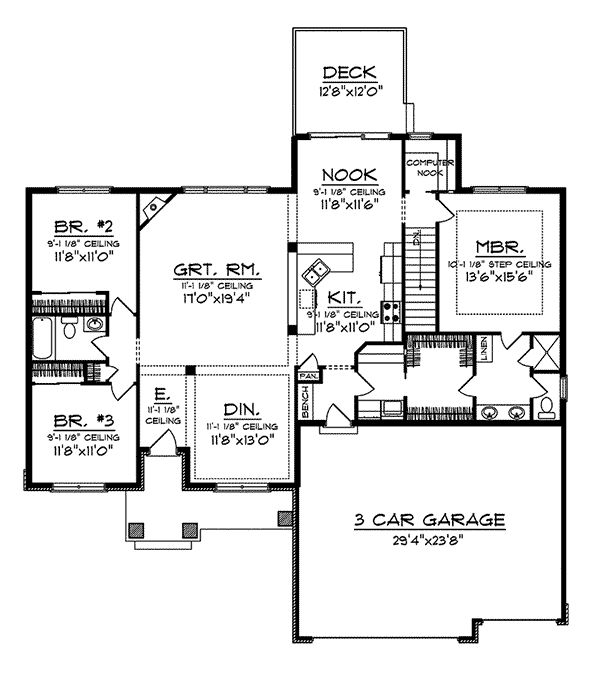50 best house plans under 1800 sq ft images on pinterest for Standard garage size in feet