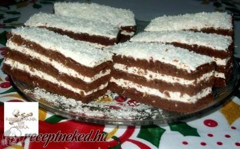 Kókuszos krémes, kakaós sütemény recept fotóval