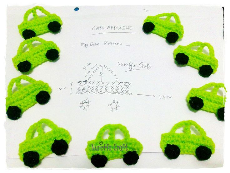 Crochet Free Pattern diagram - Car Applique ::