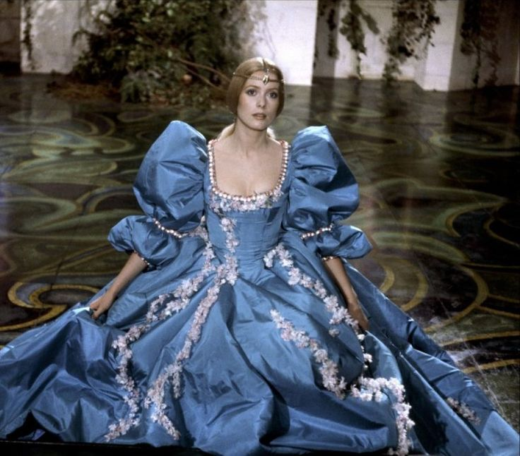 Peau d'ane (1970) Catherine Deneuve in title role & director Jaques Demy - dress in the colour of the weather. Costume design: Gitt Magrini