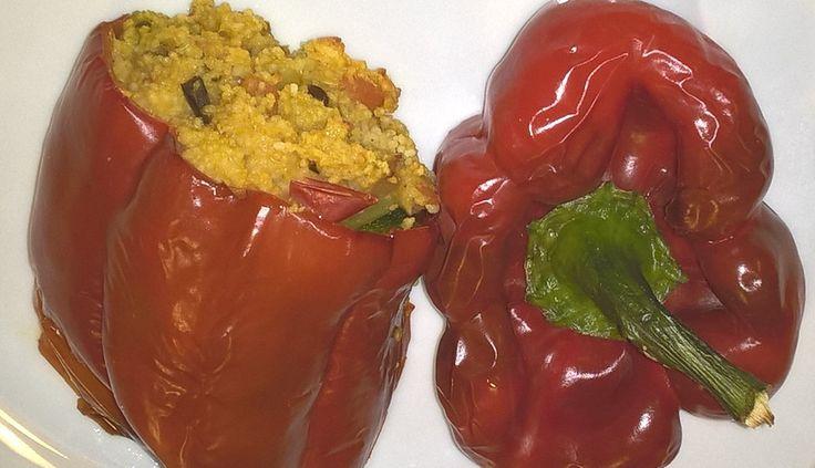 peperoni ripieni con couscous e verdure