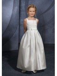 Taffeta Beaded Bodice Ankle-Length Flower Girl Dress