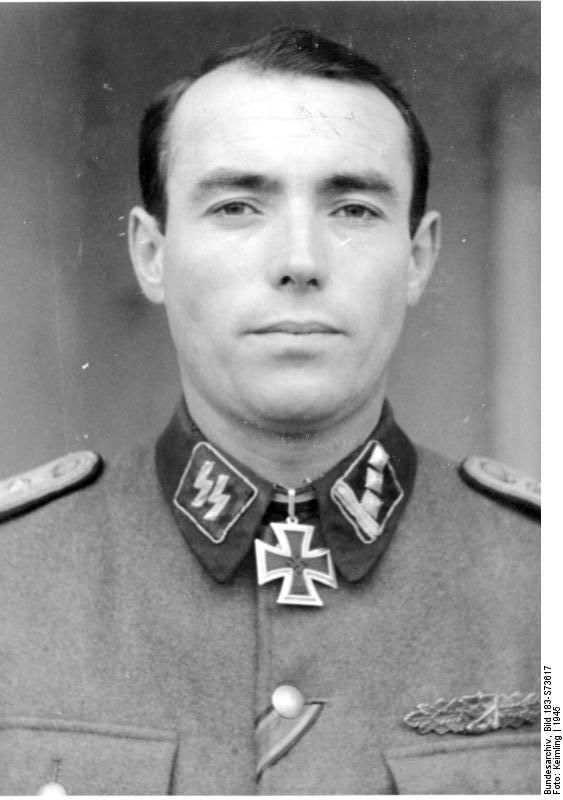 "Bundesarchiv Bild 183-S73617, Albert Klett, SS-Hauptsturmführer. Awarded Knights Cross while serving with the 8th SS Calvary Div. ""Florian Geyer"" on Oct. 1944. He was KIA near Tata, Hungary on March 14.1945 defending vs invading Soviet forces. Budapest was the ""Stalingrad"" for Florian Geyer, holding out against massive Soviet attacks."
