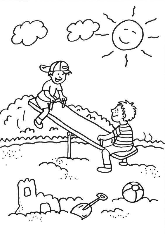 Ausmalbild Sommer Kinder Auf Der Wippe Ausmalen Kostenlos Ausdrucken In 2020 Ausmalbilder Sommer Ausmalen Ausmalbild
