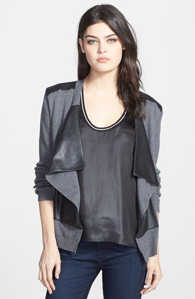 Free shipping and returns on Bailey 44 'Cryptic Crossword' Open Front Cardigan at Nordstrom.com. A drape-front cardigan cut from a cozy blend of cotton and cashmere is outfitted with faux leather insets at the shoulders and front panel for a sleek two-tone aesthetic.