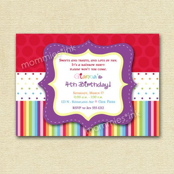 Rainbow Dots and Stripes Birthday Invite - PRINTABLE INVITATION DESIGN. $12.00, via Etsy.