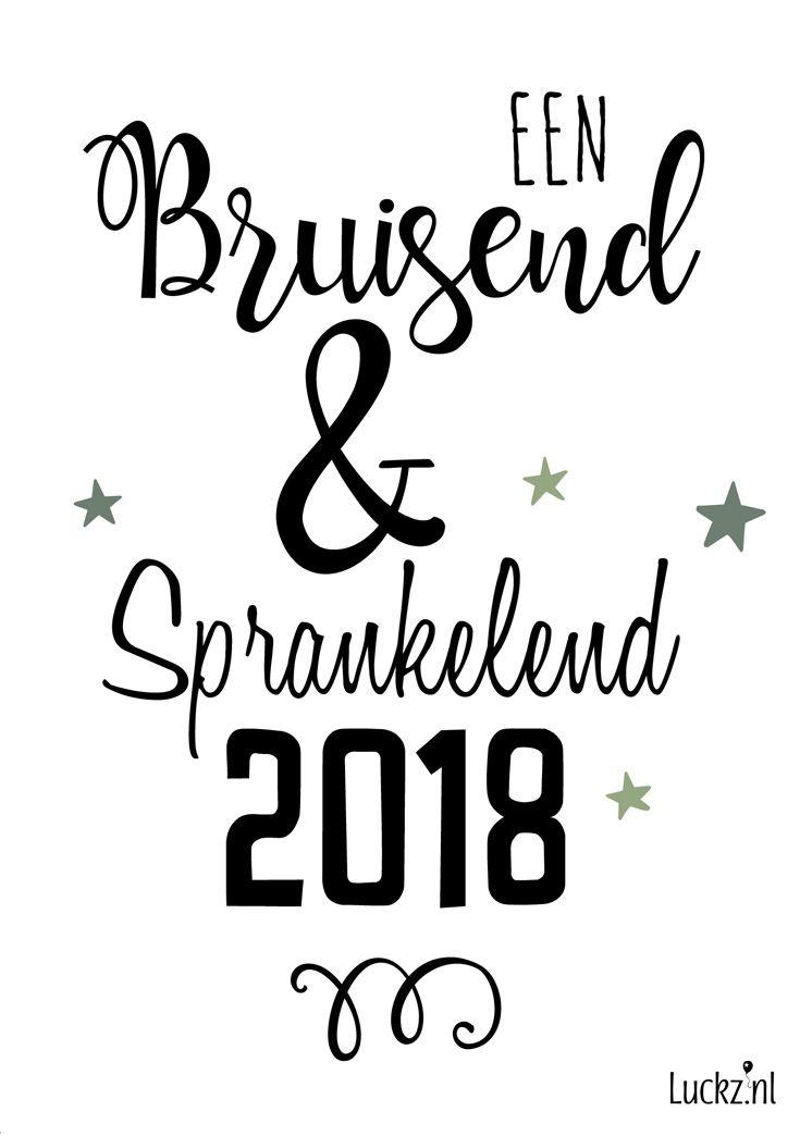 Leuke typografische kerstwens. Een bruisend en sprankelend 2018!. Maak deze kaart zelf bij Luckz.