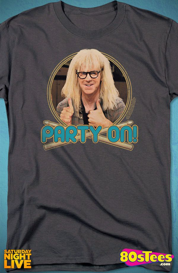 Party On Wayne's World Saturday Night Live T-Shirt: SNL Mens T-Shirt.  Attention SNL   Geeks:  Every day can be special wearing this cool design with great art and illustration.