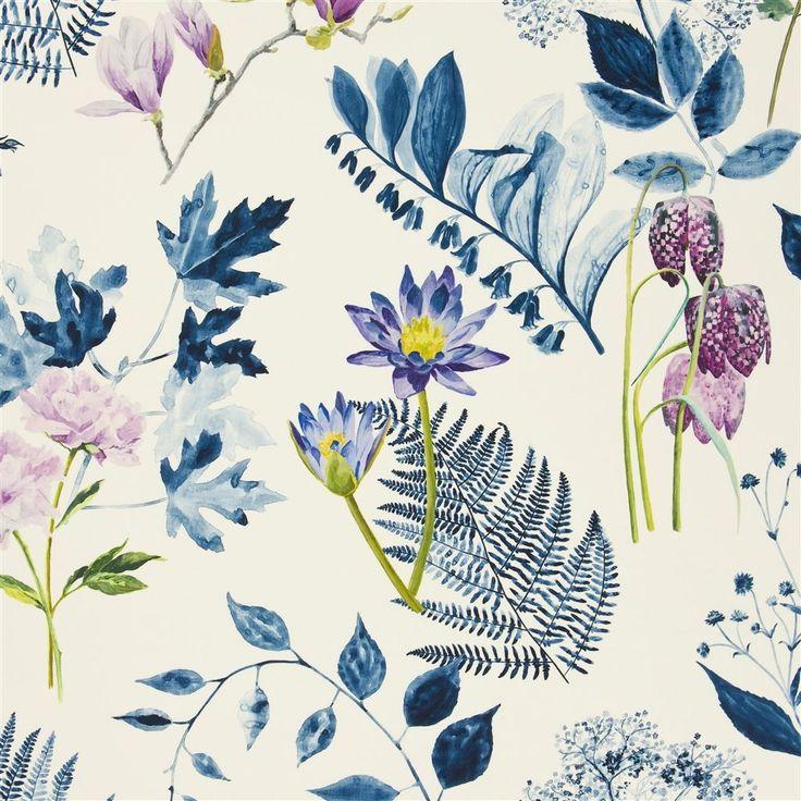 mokuren - indigo fabric | Designers Guild
