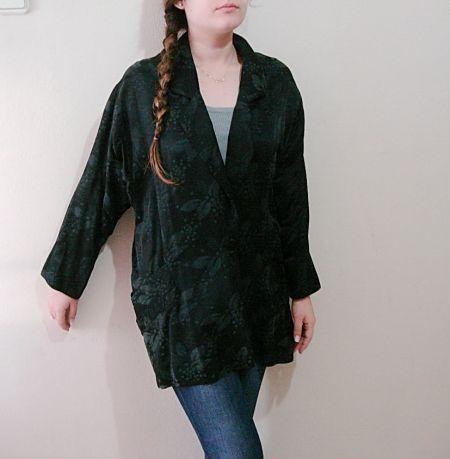 Vintage 1970 ceket, Siyah yarasa kollu geniş omuzlu 80ler modası