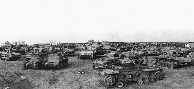 Captured German tanks southwest of Stalingrad, shown on April 14, 1943. (AP Photo)