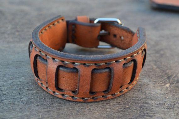 Jengibre de pulsera rojo hecho a mano de cuero pulsera-hombres