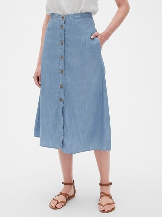 9a85c59f5c6 Button-Front Midi Skirt in TENCEL  153