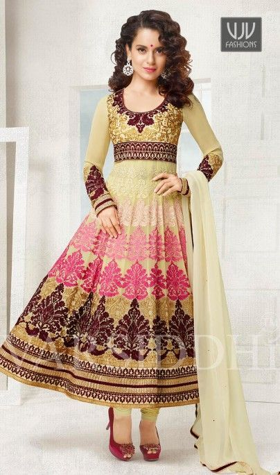 Kangna Ranaut Cream Georgette Designer Salwar Kameez Kangna Ranaut Be your own style icon with cream georgette designer salwar kameez. You will see some interesting patterns completed with embroidered and lace work. Comes with matching bottom and dupatta.