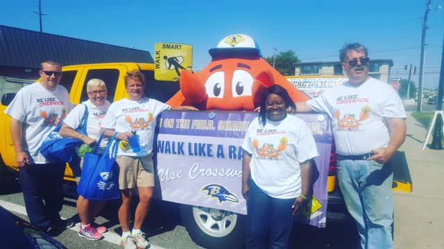 Our OC Walk Smart crab, Cheswick, has a safety message provides a safety message from Ocean City!