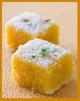 Festival Special Sweets - Mung Dal Burfi 250g Mung Dal (split yellow grams) 250g sugar 3-4 cup water 100g khoa/mawa 2-3 tbsp ghee/oil 2-3 tbsp pistachio, almonds cashew nuts sliced