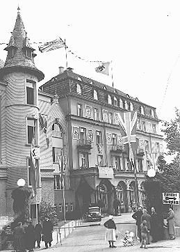 The Hotel Dreesen, where Neville Chamberlain and Hitler held their second meeting on the Sudetenland and German demands for Czech territory. Bad Godesberg, Germany, September 22, 1938.