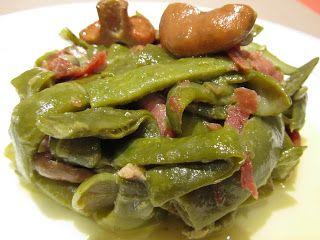 Les receptes del Miquel: Judías verdes con refrito de ajos, jamón y rovellons