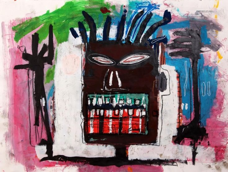 JEAN MICHEL BASQUIAT untitled (self portrait,,,green and red teeth)1984