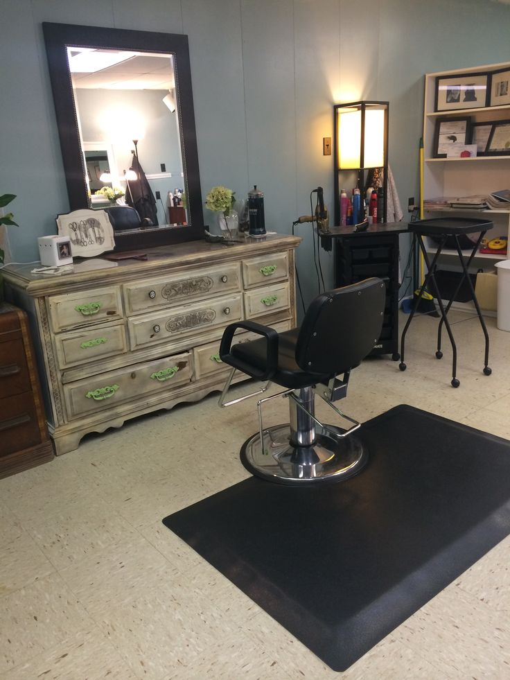 Finished with my distressed vintage salon styling station made from an old wooden dresser