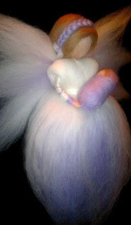 Fairy with baby, Waldorf needle felted, eco-friendly