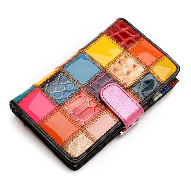 Mosaico al azar de Las Mujeres Carpeta del Cuero Genuino Cubierta Del Monedero Para Las Monedas En El Pasaporte Tarjetas de Visita