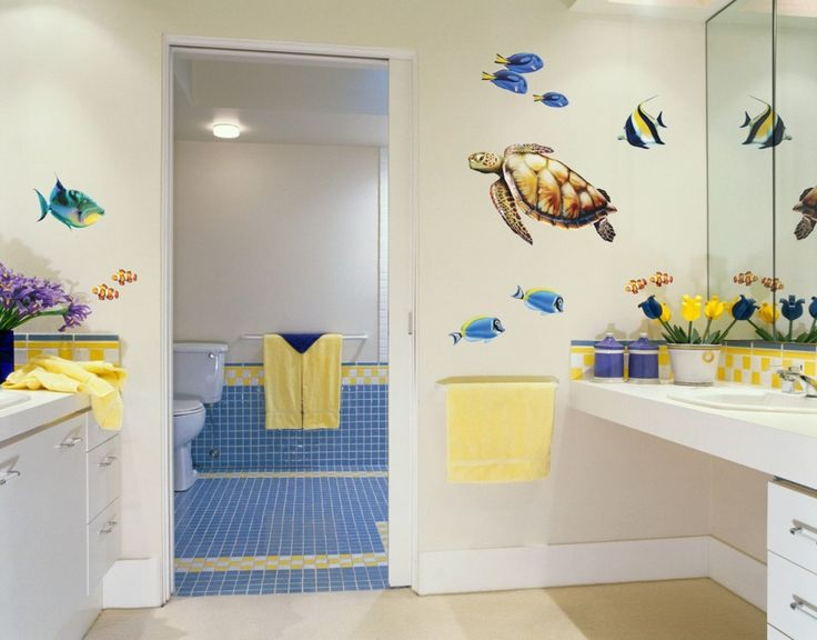 Awesome Kids Bathroom Ideas With Funny Wall Decal And Marvellous White  Washbasin Also Cute Yellow Towels Part 26