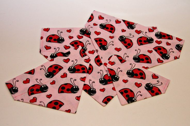 Pink Love Bug Valentine's Day Dog Bandana/ Cat Bandana/ No Tie Bandana by BonzaiGiftsPetNanny on Etsy
