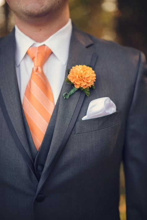 Simple orange boutonniere |  Audra Wrisley Photography & Design