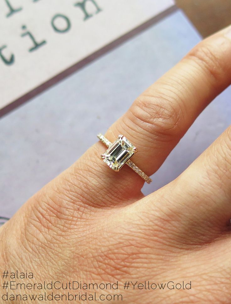 Alaia Custom Emerald Cut Diamond Engagement Ring - Ultra Thin w/ Pave – Dana Walden Bridal :: Engagement Ring Designers - NYC