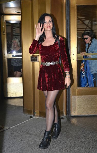 Katy Perry rocking a velvet dress as she promotes her album in NYC