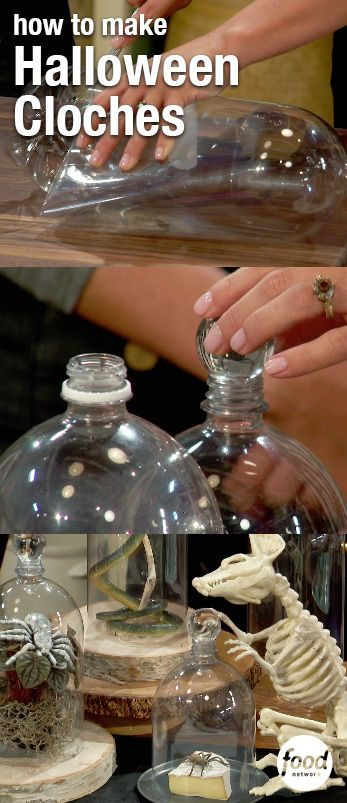 Turn empty two-liter bottles into a Halloween decoration or serving platter! Marcela cuts off the bottom of the bottle, then glues a marble over the top, and voila, it's a cloche! Click through for more Halloween party ideas.